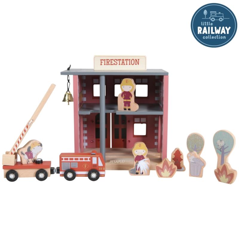 Mängu tuletõrjejaam (rongirajaga ühilduv) Little Dutch LD4490