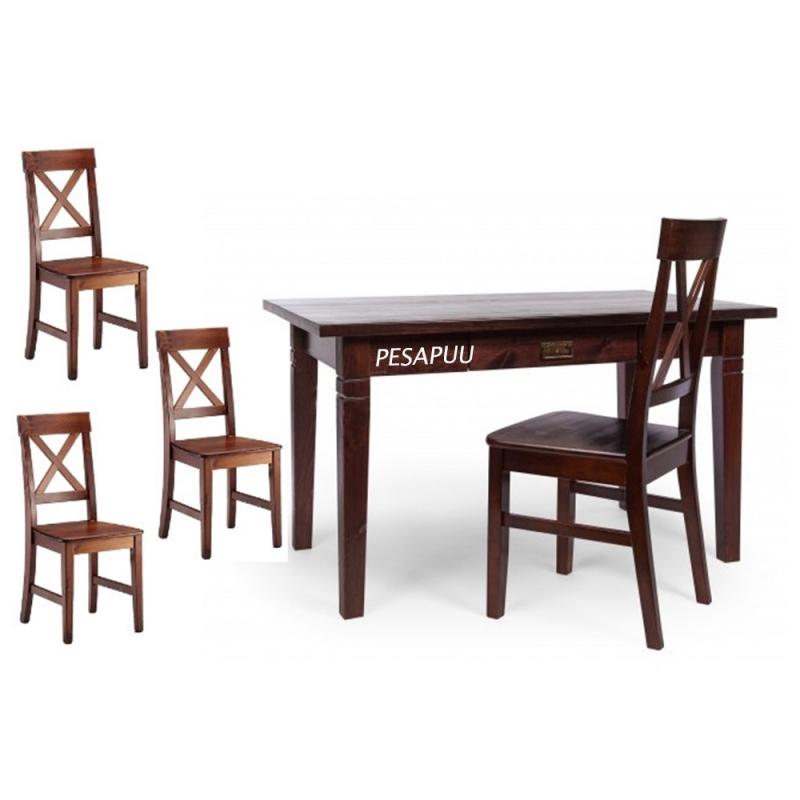 Lauakomplekt Monaco laud 389/10 + 4 tooli, tumepruun