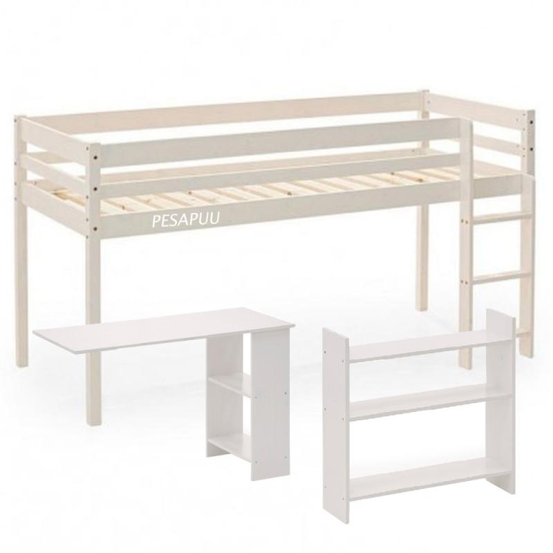 Poolkõrge voodi Nova 80x200 riiuli ja lauaga