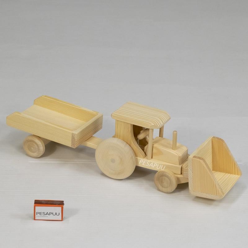 Puidust traktor käruga, väike