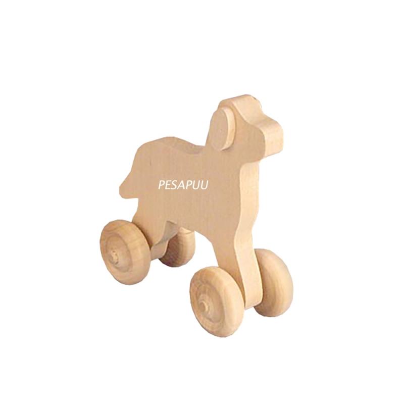Puidust koer ratastega