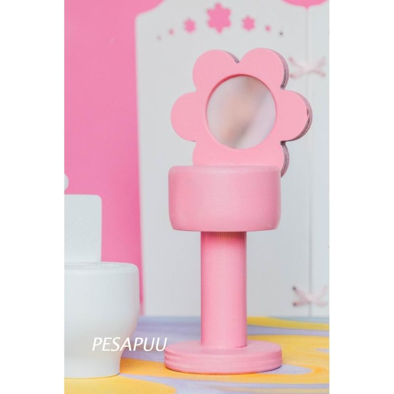 Nukumaja kraanikauss peegliga, roosa