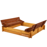 Liivakast kaanega ja istmetega 120x120 pruun/kollane
